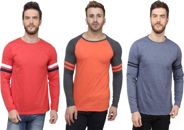 SayItLoud Solid Men's Round Neck Red, Orange, Blue T-Shirt