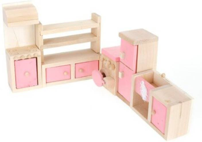 Monkeyjack Cute Pink Wooden Dollhouse Furniture Kitchen Set Decor