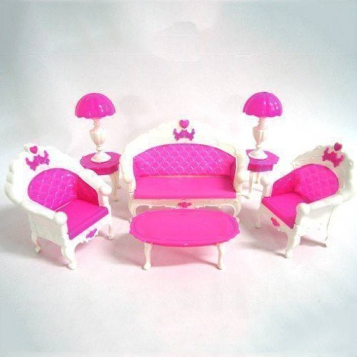 Generic Barbie Doll House Living Room Furniture Sofa Table Lamp Coffee Table Set(Pink) (Multicolor)