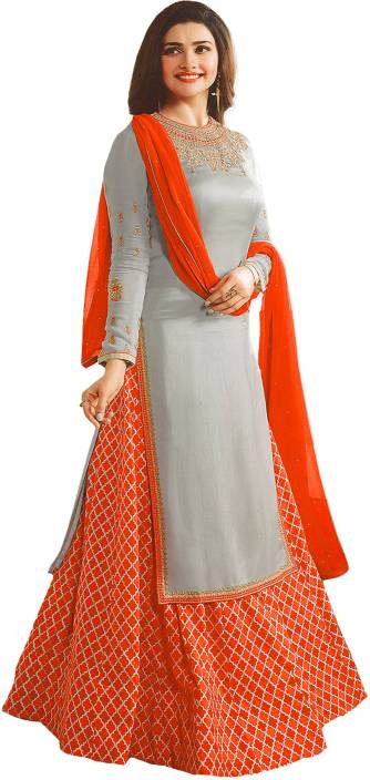 Bipolar Life Crepe Embroidered, Self Design Semi-stitched Salwar Suit Dupatta Material