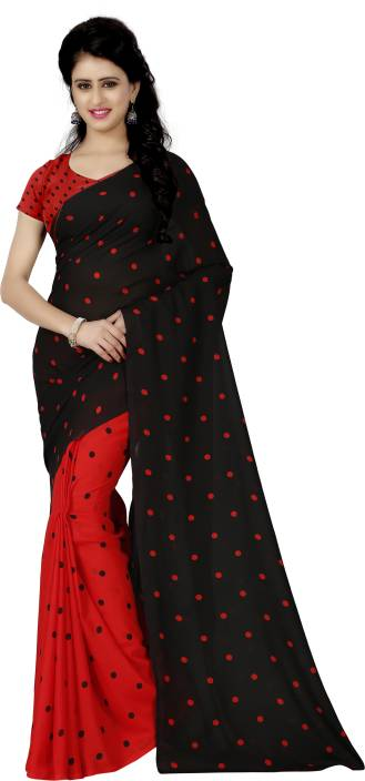 779aa350e4 Buy Kashvi Sarees Printed Daily Wear Georgette Red, Black Sarees ...