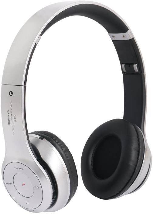 5a0c0ddcca1 DRUMSTONE S460 Bluetooth Wired & Wireless Headphones With Tf Card/Mic/Fm Support  Bluetooth Headset with Mic (Silver, Over the Ear)