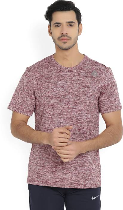 Reebok Solid Mens Round Neck Maroon T-Shirt