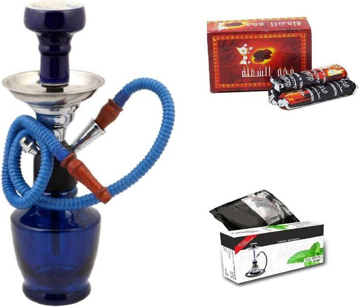 JaipurCrafts Premium Small Matki Hookah With Flavour And Charcoal 12 inch Glass Hookah