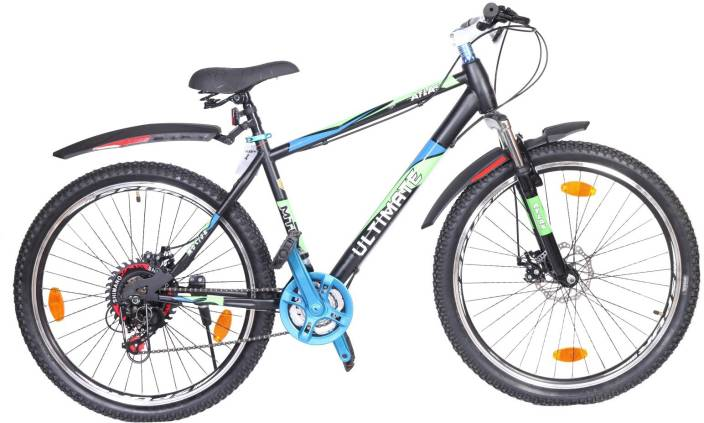 Atlas Motion Front Suspension Dual Disc Brake Bike For Adults Black&Blue 26  T Mountain/Hardtail Cycle