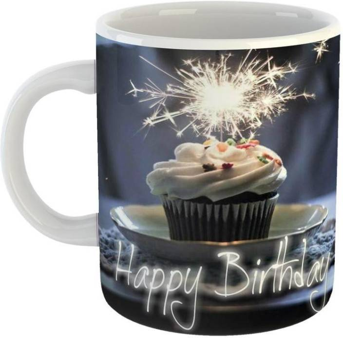 GiftOwl Happy Birthday Cake Ceramic Coffee For Friend Girlfriend BoyFriend Glossy Finish With Vibrant Print Mug 350 Ml