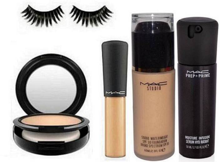 Imported Combo Of Mac(Studio Fix Compact,Studio Water Weight Foundation,Eyelashes,Mineralize Concealer,Prep + Prime Moisture Infusion Serum Hydratant 50ml)