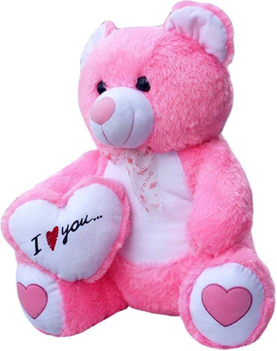 Alisha Toys Beautiful Pink Fur With I Love You Heart Teddy Bear