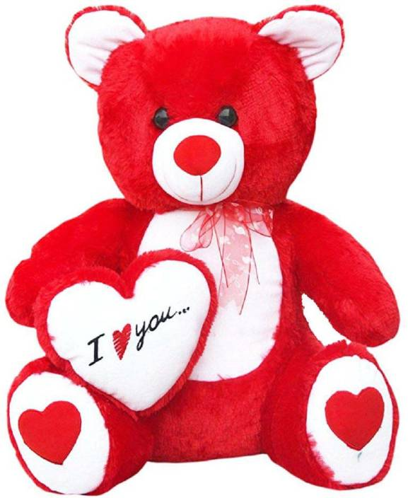 ALISHA Toys Cute Red Fur with ( I Love You ) Heart Teddy Bear - 65 cm (Red)