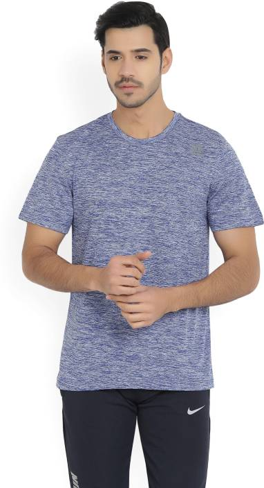 REEBOK Solid Mens Round Neck Blue T-Shirt