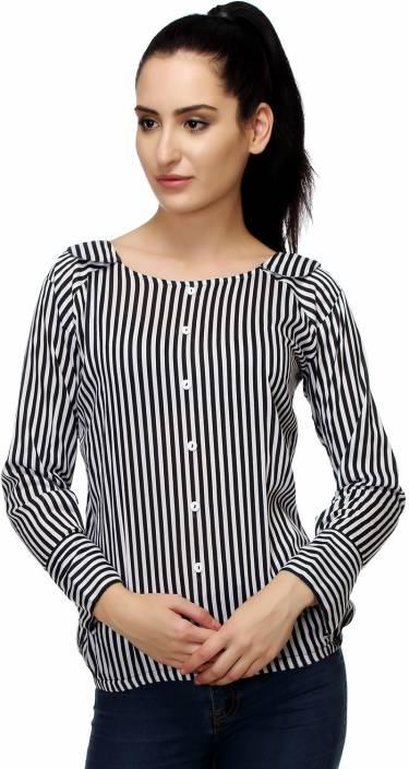 Kannan Casual Full Sleeve Striped Women Black, White Top