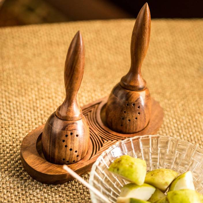 ExclusiveLane Unique Slanting With Sheesham Wooden Engraved Tray Pack of 3 Piece Salt & Pepper Set