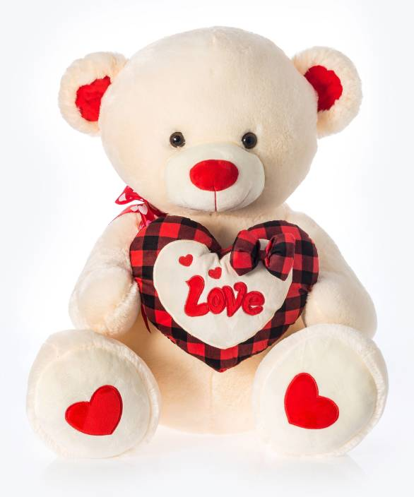 Dimpy Stuff Dimpy Bear W/Heart Love Emb. Cream - 50 cm (Red)