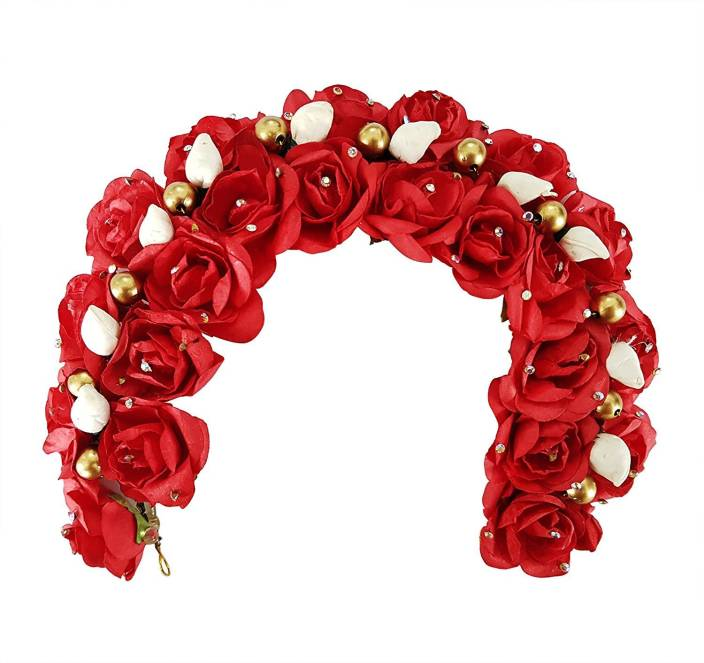 607678a077180 Fully South Indian Wedding Bridal Flower Hair Gajra / Hair Accessories For  Women Wedding (Red) Hair Accessory Set (Red)