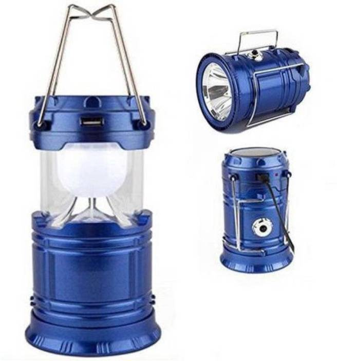 Highclaire 6+1 Led Solar Emergency Light Lantern + USB Mobile Charging + Torch point,2 Power Source Solar, Lithium Battery, Travel Camping Lantern Blue Iron Lantern Emergency Light