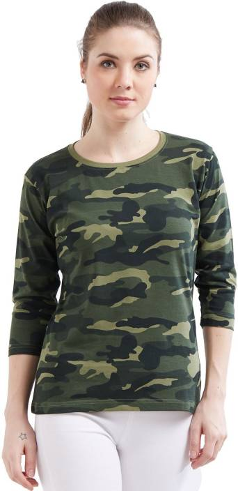 Wear Your Opinion Military Camouflage Women Round Neck Green T-Shirt - Buy  Green Camo Wear Your Opinion Military Camouflage Women Round Neck Green T- Shirt ... 7347fc57e4