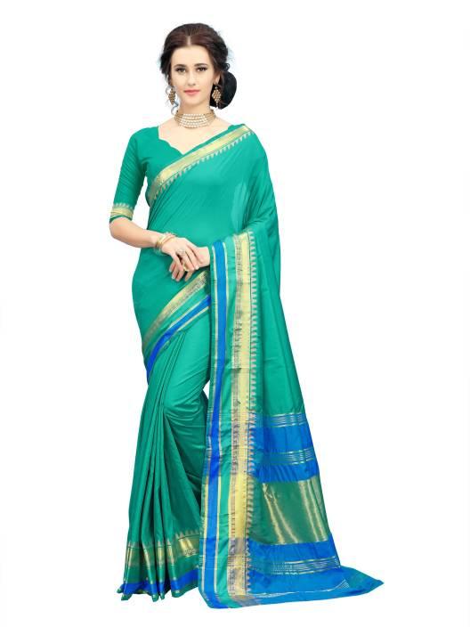Aashvi Creation Self Design, Striped Kanjivaram Art Silk, Cotton Silk Saree