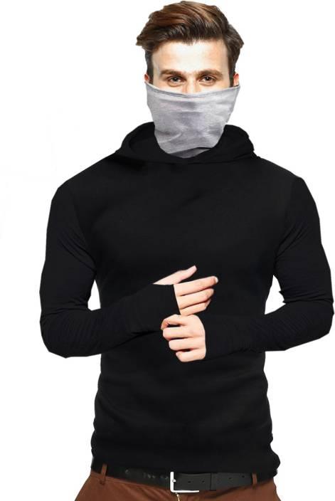 Tripr Solid Men Hooded Black T-Shirt - Buy Tripr Solid Men Hooded Black T- Shirt Online at Best Prices in India  c44a49e6af5