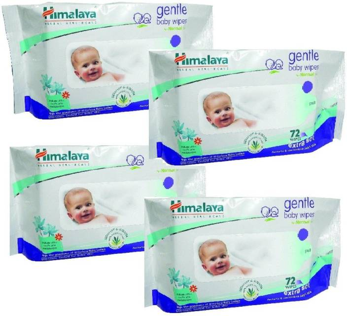 Himalaya Gentle Baby Wipes (72 Pcs - Packs of 4)
