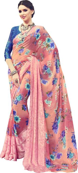 Ratnavati Floral Print Bollywood Georgette, Satin Saree