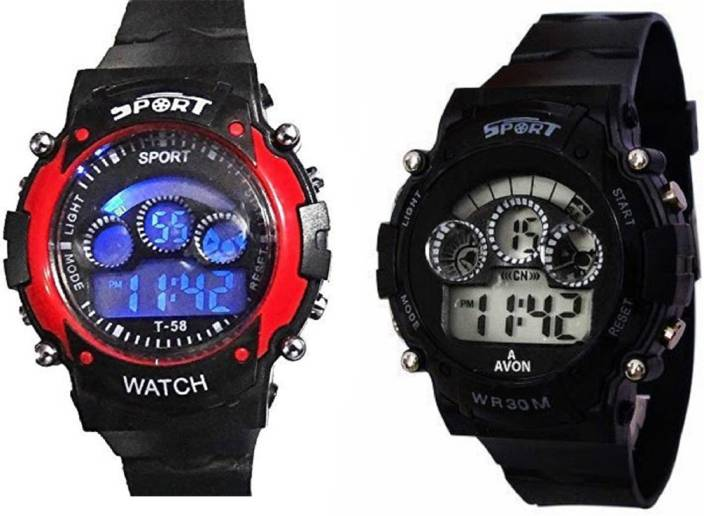 Rage Enterprise New Stylish Kids Digital Red-Black 7 Lights Girls Watch - For Boys