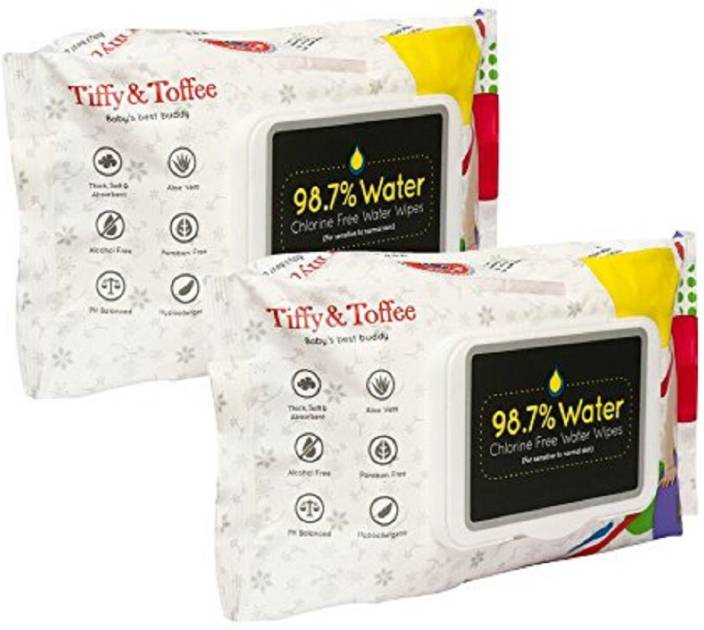 Tiffy & Toffee Baby Water Wipes with Lid, 80 Count (Pack of 2)