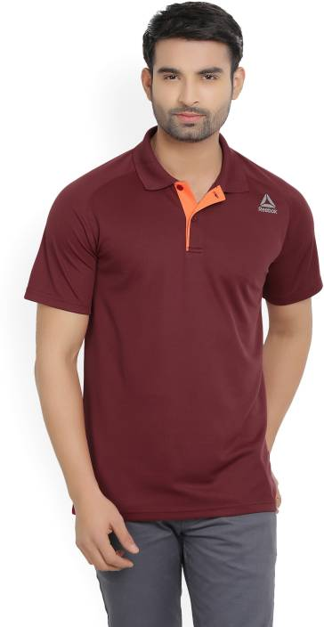 REEBOK Solid Men's Polo Neck Maroon T-Shirt