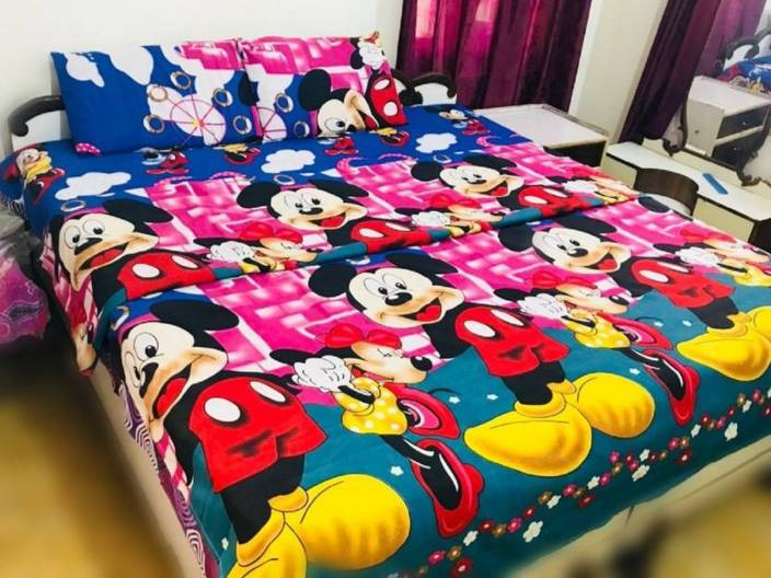 Supreme Home Collective 144 TC Microfiber Double Cartoon Bedsheet