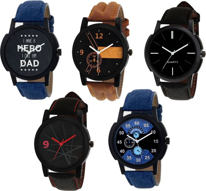 SPINOZA watch combo of five men women stylish blue brown and black chronograph attractive looks Sport Watch - For Boys & Girls