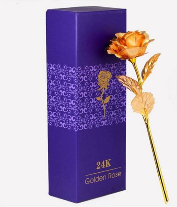 Bluebells India Valentine S Day Gold Dipped 24 Carat Rose Showpiece