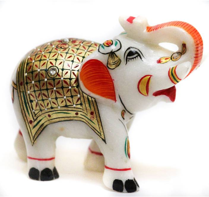 DI KRAFT Beautifully Hand Crafted Marble Elephant Statue Idol With Meenakari Work Home Decor Set Of 1 Decorative Showpiece
