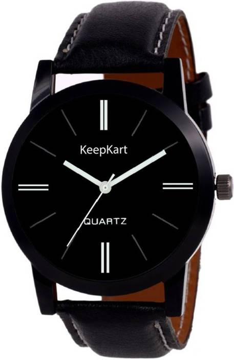 Keepkart Blk Leather Strap Stylish Designer Watch For Boys And Girls And Men And Women Watch  - For Couple