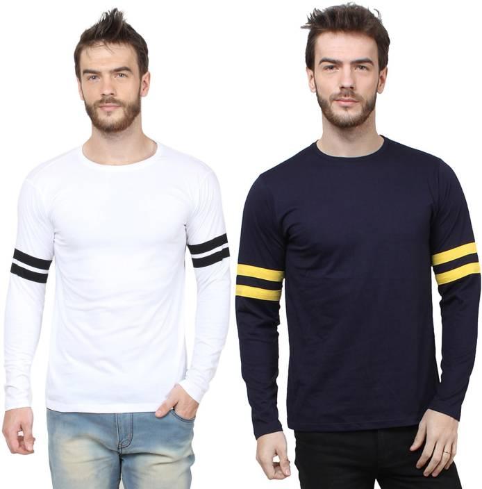 SayItLoud Solid Men's Round Neck White, Blue T-Shirt