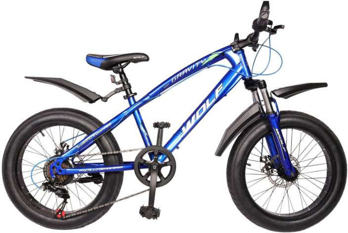 63380bb5803 WOLF Gravity 20x4.0 Dual Disc & Suspension FAT Bike For Kids Blue 20 T  Recreation Cycle (6 Gear, Multicolor)