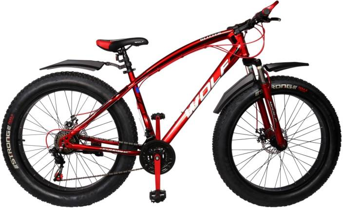 4fe9b5f3ea29 WOLF Glitter 26x4.0 Dual Disc   Suspension FAT Bike For Adults Red 26 T  Mountain Hardtail Cycle (21 Gear