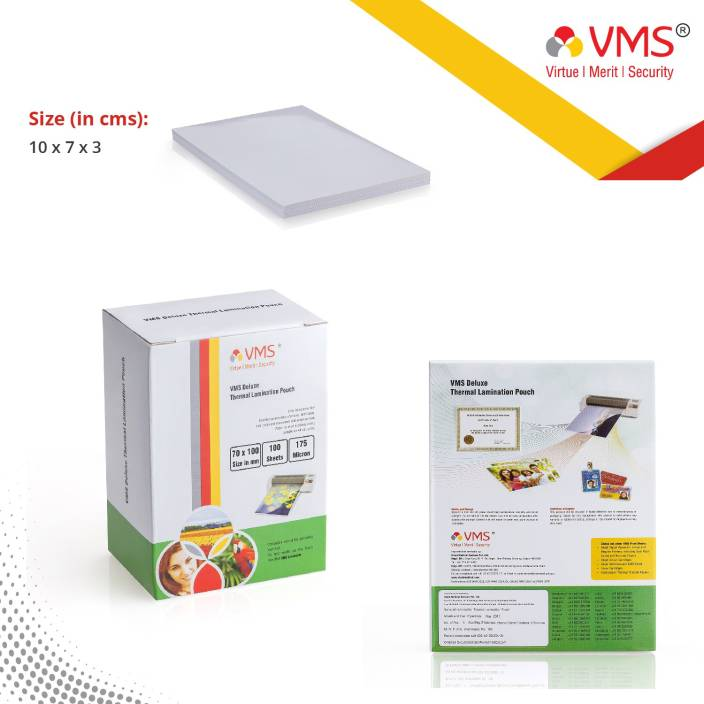 VMS Deluxe Thermal Lamination Pouch 70x100 175 MIC Set of 2 (200 Sheet)  Laminating Sheet