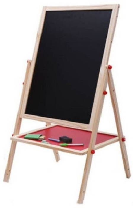 Krypton Two Sided Height Adjustable 2 In 1 Black White Wooden Drawing Board With Easel Chalk For Kids