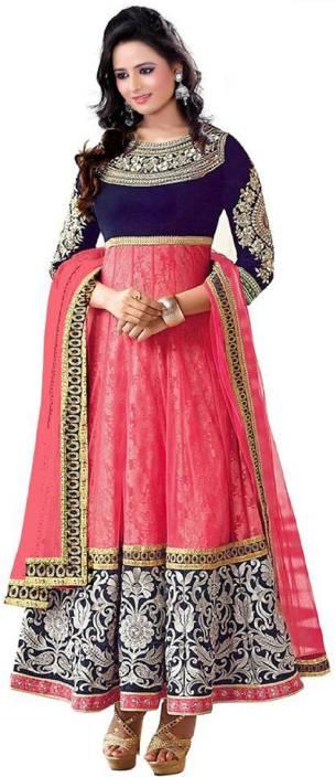 SHIVSHAM FAB Brasso Embroidered Semi-stitched Salwar Suit Dupatta Material