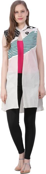 Sleeveless Striped Women Jacket