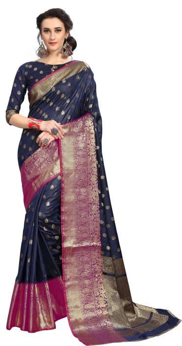 Aashvi Creation Self Design, Striped Kanjivaram Silk, Art Silk, Banarasi Silk Saree