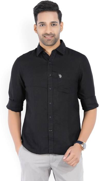 3fb820c3a53 U.S. Polo Assn Men s Solid Casual Black Shirt - Buy Black U.S. Polo Assn  Men s Solid Casual Black Shirt Online at Best Prices in India
