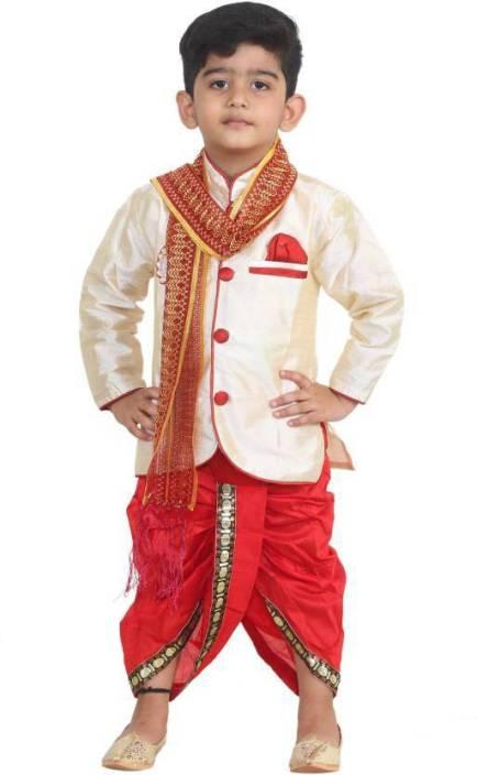 FTC Fashions Boys Festive & Party Kurta, Dhoti Pant & Dupatta Set