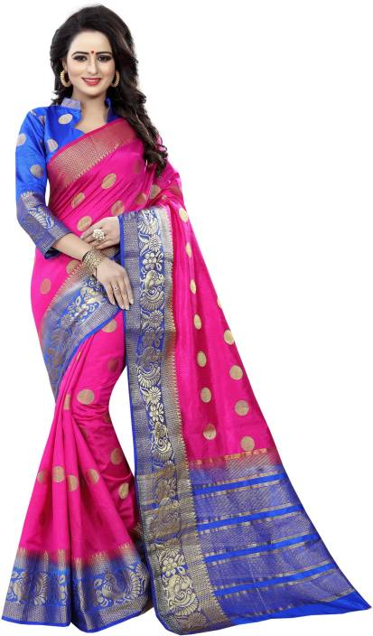 Saarah Self Design Kanjivaram Art Silk Saree
