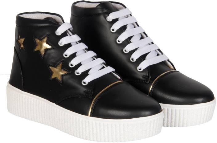online retailer 76510 d5cb3 NMD Comfortable Woman Long Black Golden Shoe Boots For Women (Black)