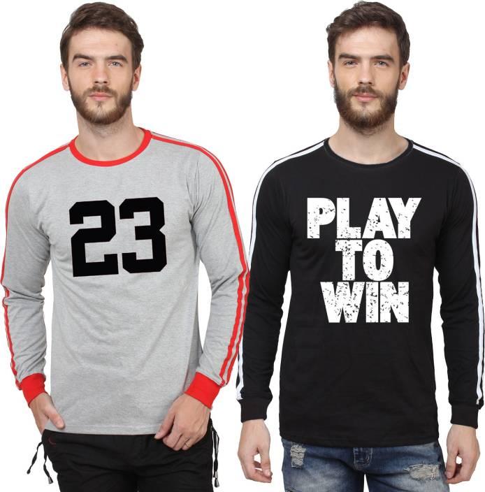 SayItLoud Printed Men's Round Neck Grey, Red, Black, White T-Shirt