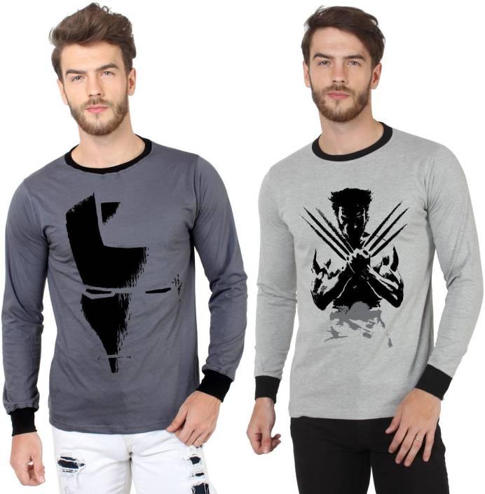 SayItLoud Printed Men's Round Neck Grey, Black T-Shirt