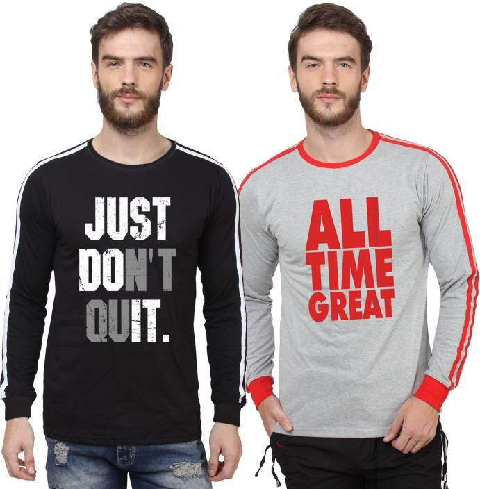 SayItLoud Printed Men's Round Neck Black, White, Grey, Red T-Shirt