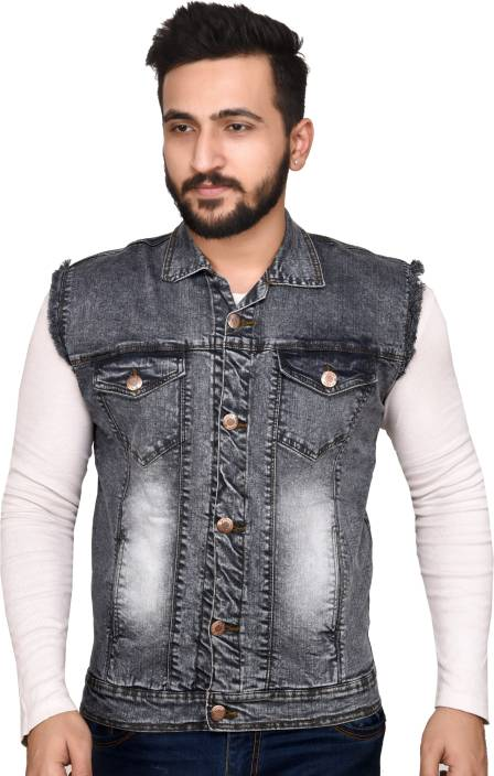 Ico Blue Star Half Sleeve Self Design Men Denim Jacket Buy Ico