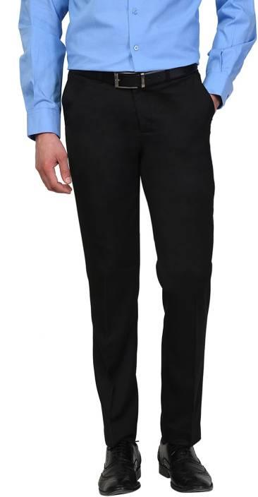D52 Slim Fit Men Black Trousers