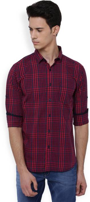 Highlander Mens Checkered Casual Red, Maroon Shirt